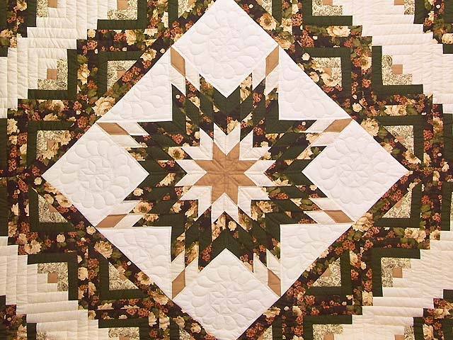 Moss Tan and Mauve Lone Star Log Cabin Quilt Photo 3