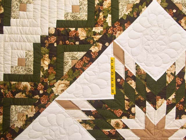 Moss Tan and Mauve Lone Star Log Cabin Quilt Photo 4
