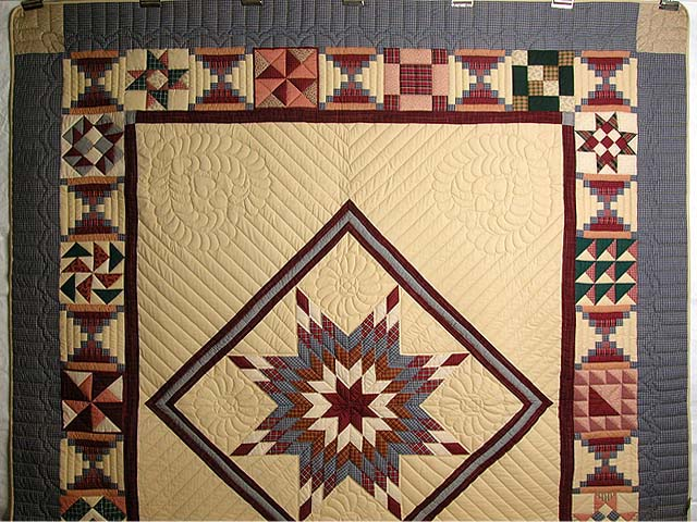 Plaid Burgundy and Tan Lone Star Sampler Quilt Photo 2