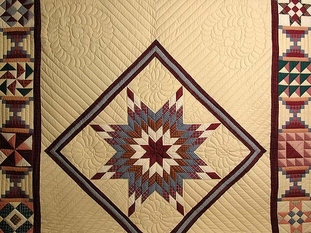 Plaid Burgundy and Tan Lone Star Sampler Quilt Photo 3