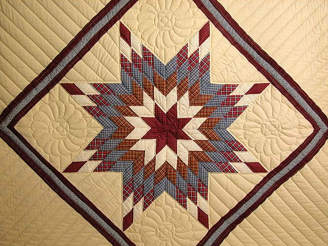 Plaid Burgundy and Tan Lone Star Sampler Quilt Photo 4