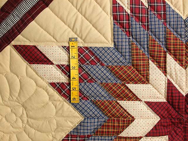 Plaid Burgundy and Tan Lone Star Sampler Quilt Photo 5