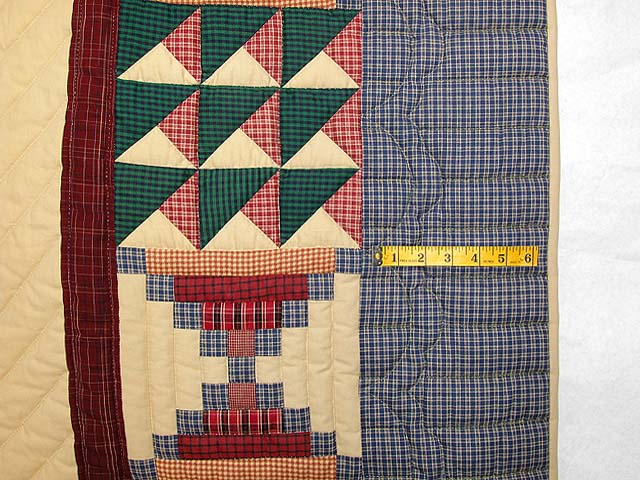 Plaid Burgundy and Tan Lone Star Sampler Quilt Photo 6