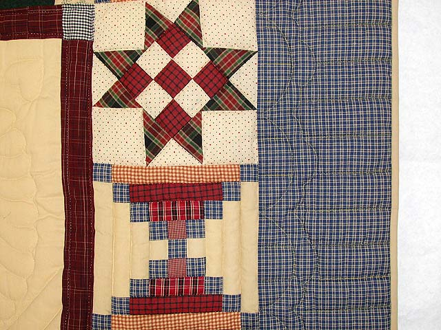 Plaid Burgundy and Tan Lone Star Sampler Quilt Photo 7