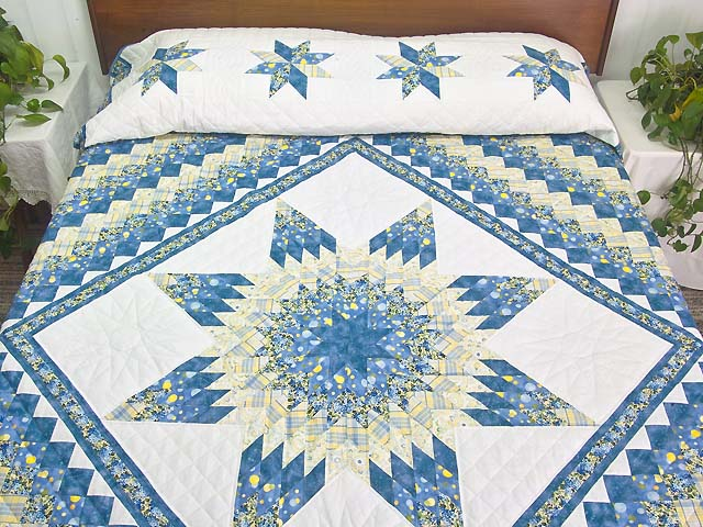 Pastel Blue and Yellow Lone Star Trip Quilt Photo 1