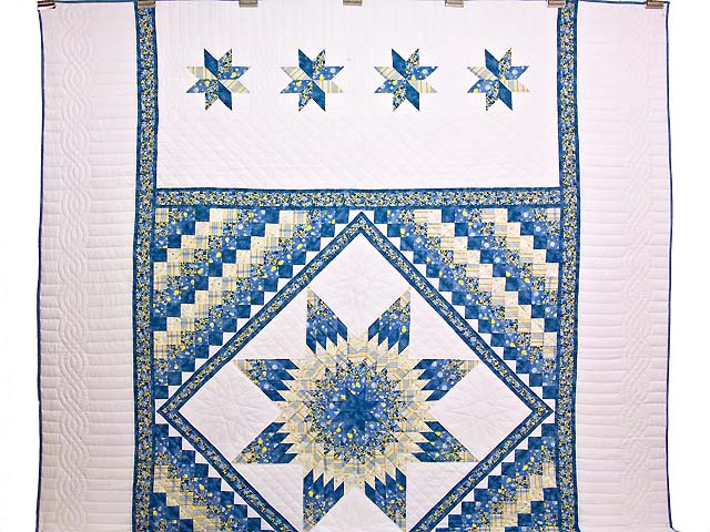 Pastel Blue and Yellow Lone Star Trip Quilt Photo 2