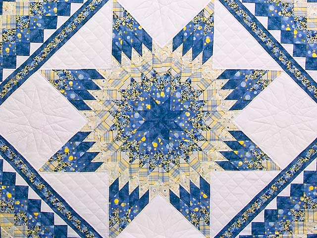 Pastel Blue and Yellow Lone Star Trip Quilt Photo 3