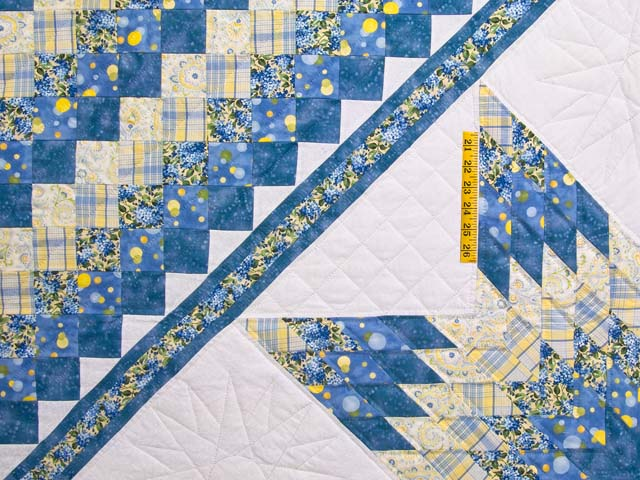 Pastel Blue and Yellow Lone Star Trip Quilt Photo 4