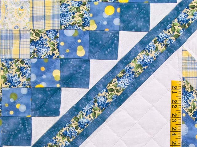 Pastel Blue and Yellow Lone Star Trip Quilt Photo 5