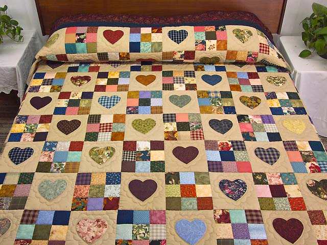 Burgundy and Navy Hearts and Nine Patch Quilt Photo 1