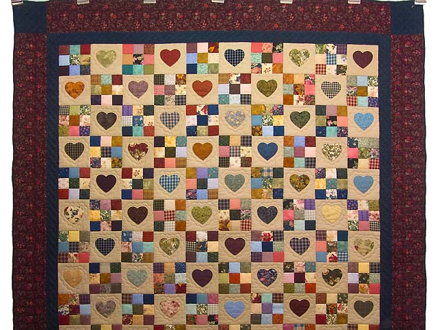 Burgundy and Navy Hearts and Nine Patch Quilt Photo 2