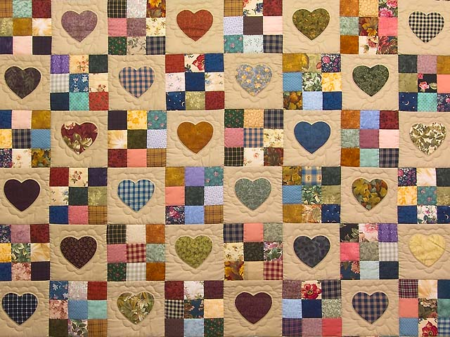 Burgundy and Navy Hearts and Nine Patch Quilt Photo 3
