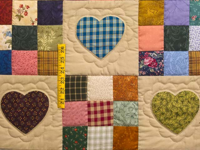 Burgundy and Navy Hearts and Nine Patch Quilt Photo 4
