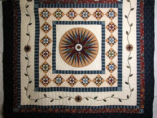Blue Savanah  Mariners Compass Quilt Photo 3