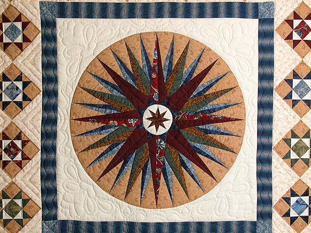 Blue Savanah  Mariners Compass Quilt Photo 4