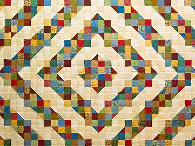 Tan and Multicolor Scrapaholic Quilt Photo 3