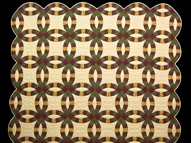 Green Burgundy and Tan Double Wedding Ring Quilt Photo 2
