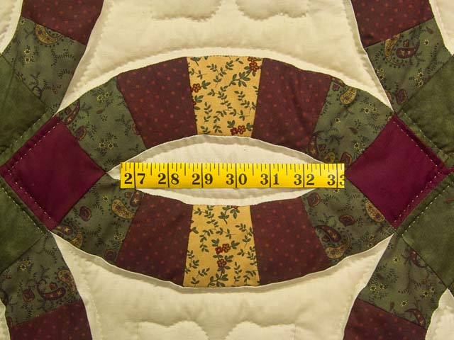 Green Burgundy and Tan Double Wedding Ring Quilt Photo 5