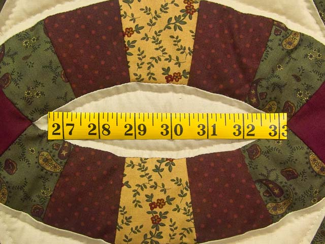 Green Burgundy and Tan Double Wedding Ring Quilt Photo 6
