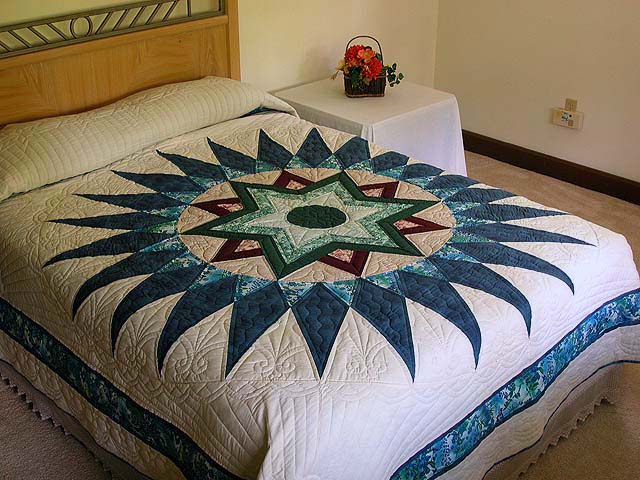 Blue and Multi Indiana Star Quilt Photo 1