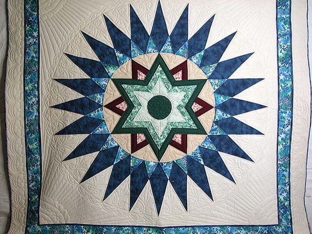 Blue and Multi Indiana Star Quilt Photo 3