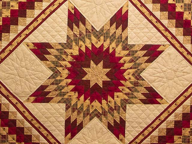 Red and Tan Lone Star Trip Quilt Photo 3