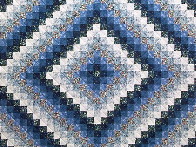 Blue Navy and Cream Trip Around the World Quilt Photo 3