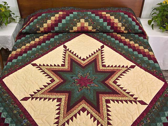 Bugundy and Teal Feathered Star Trip Quilt Photo 1