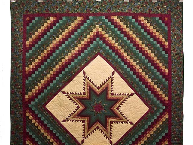 Bugundy and Teal Feathered Star Trip Quilt Photo 2