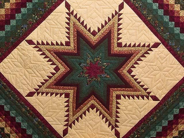 Bugundy and Teal Feathered Star Trip Quilt Photo 3