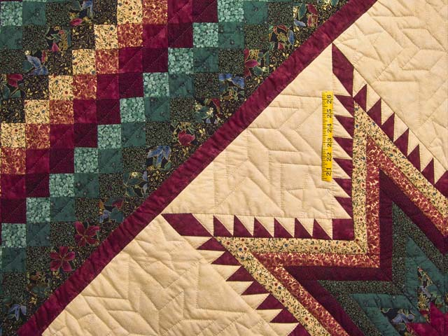 Bugundy and Teal Feathered Star Trip Quilt Photo 4