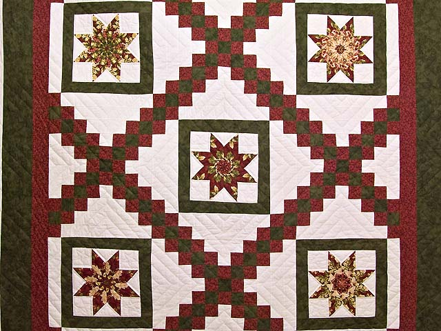 Green and Burgundy Stack and Whack Irish Chain Quilt Photo 3