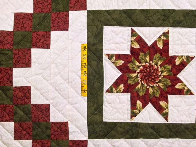 Green and Burgundy Stack and Whack Irish Chain Quilt Photo 4