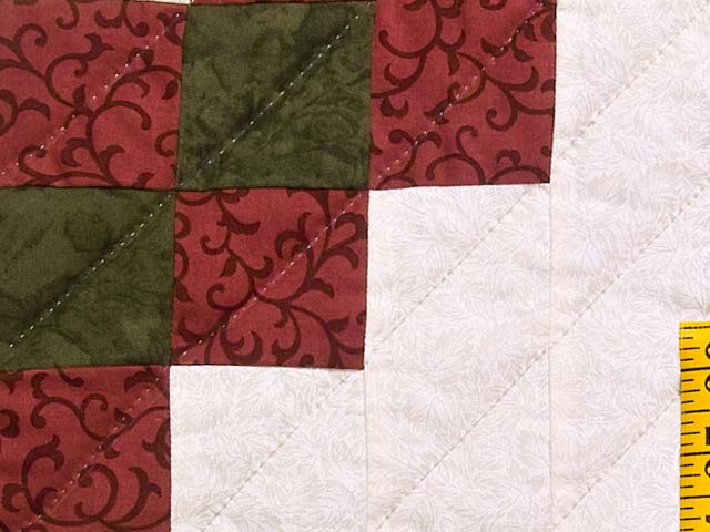 Green and Burgundy Stack and Whack Irish Chain Quilt Photo 6