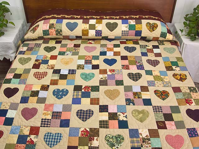 Autumn Tones Heart and Nine Patch Quilt Photo 1