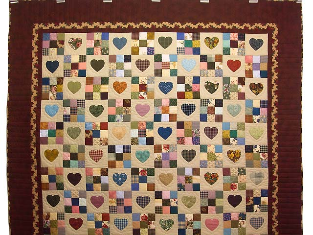 Autumn Tones Heart and Nine Patch Quilt Photo 2