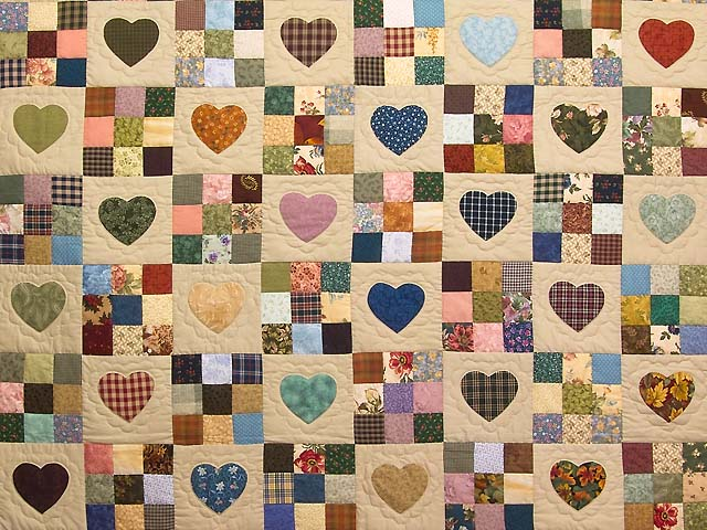 Autumn Tones Heart and Nine Patch Quilt Photo 3