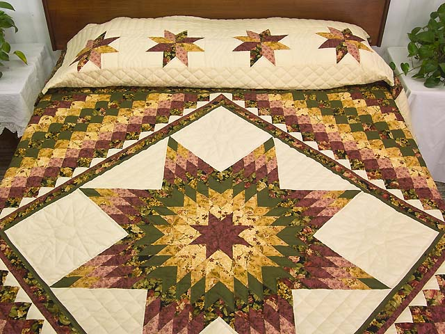 Burgundy Moss and Golden Tan Lone Star Trip Quilt Photo 1