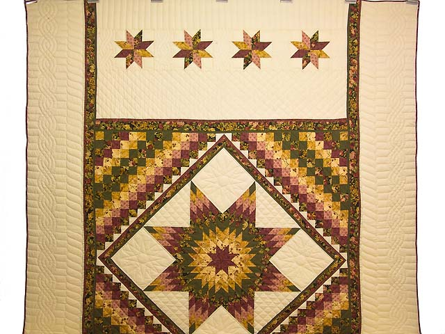Burgundy Moss and Golden Tan Lone Star Trip Quilt Photo 2