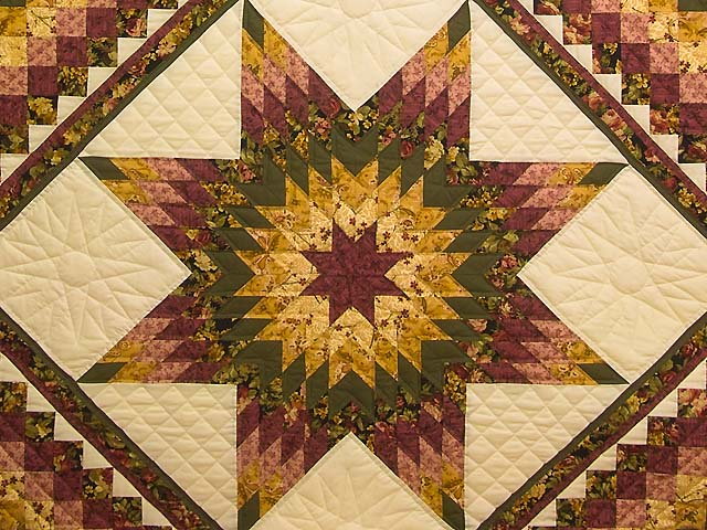 Burgundy Moss and Golden Tan Lone Star Trip Quilt Photo 3