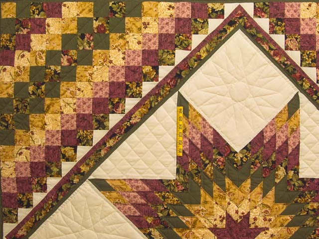 Burgundy Moss and Golden Tan Lone Star Trip Quilt Photo 4