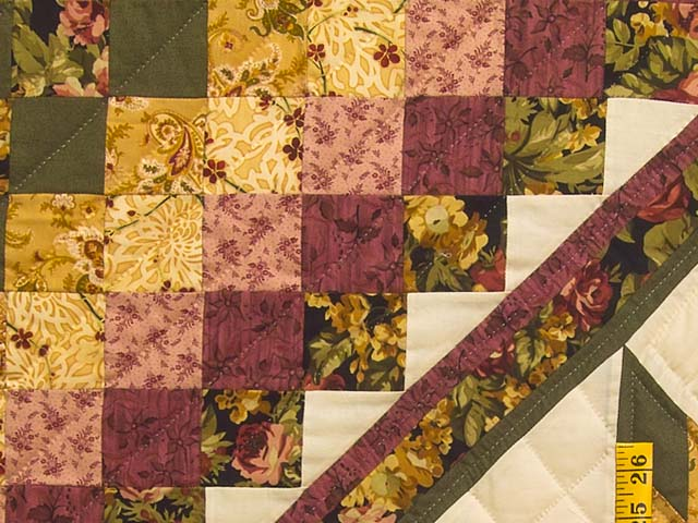 Burgundy Moss and Golden Tan Lone Star Trip Quilt Photo 6