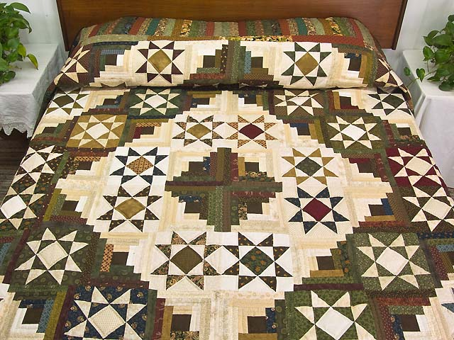 Earthtones Ohio Star Log Cabin Quilt Photo 1