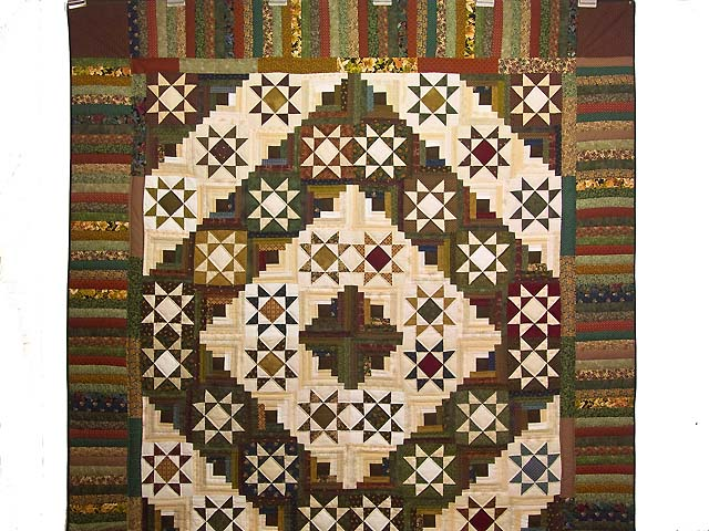 Earthtones Ohio Star Log Cabin Quilt Photo 2