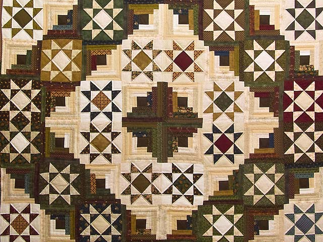 Earthtones Ohio Star Log Cabin Quilt Photo 3