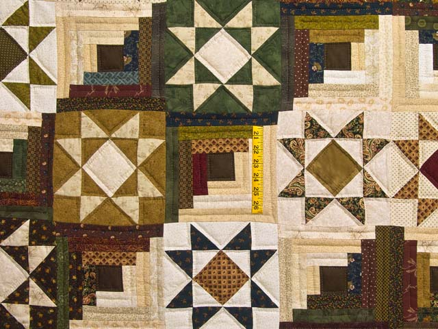 Earthtones Ohio Star Log Cabin Quilt Photo 4