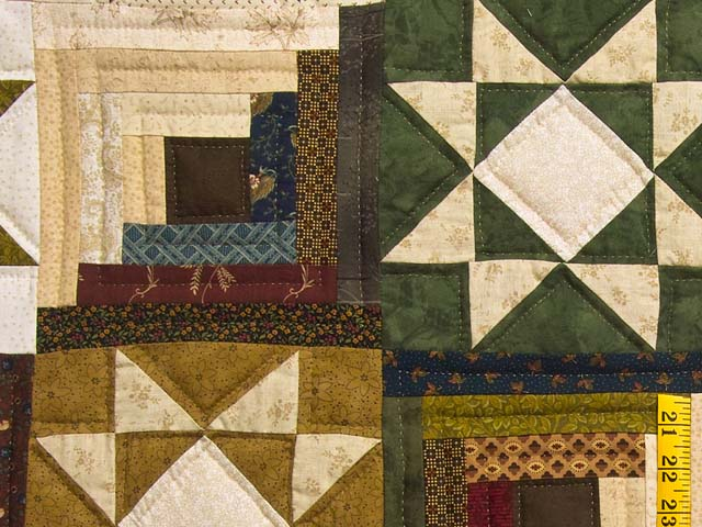 Earthtones Ohio Star Log Cabin Quilt Photo 5