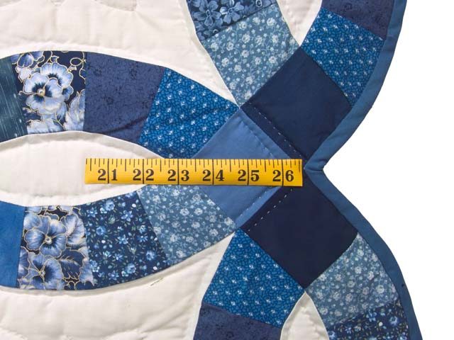 Twin Navy Blue and Cream Double Wedding Ring Quilt Photo 7