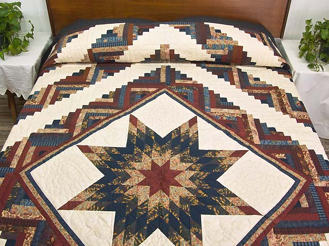 Navy and Multicolor Lone Star Log Cabin Quilt Photo 1