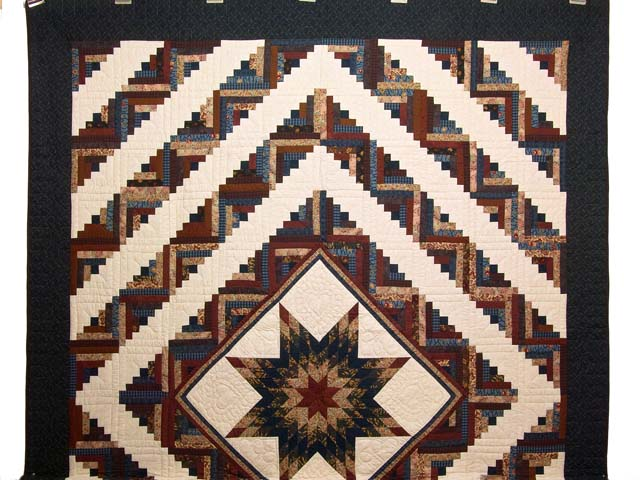 Navy and Multicolor Lone Star Log Cabin Quilt Photo 2
